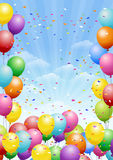 Festival background with balloons. Festival background with colorful balloons and scattered confetti. Celebration Stock Photos