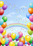 Festival background with balloons and rainbow. Festival background with colorful balloons, rainbows and scattered confetti. Celebration Royalty Free Stock Photos