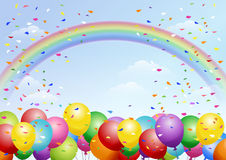 Festival background with balloons and rainbow. Festival background with colorful balloons, rainbows and scattered confetti. Celebration.About A4 sized art board Royalty Free Stock Image