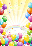 Festival background with balloons on yellow. Festival background with colorful balloons and scattered confetti. Celebration Royalty Free Stock Photos