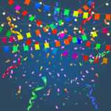 Festival background with garland. Streamers, confetti and flags isolated. Vector illustration Royalty Free Stock Images