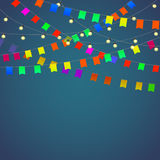 Festival background with garland. Streamers and flags isolated. Vector illustration Stock Image