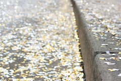 festival background with gold and silver sequins that lie on the pavement  the road  bokeh. Royalty Free Stock Image