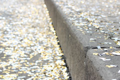 festival background with gold and silver sequins that lie on the pavement  the road  bokeh. Royalty Free Stock Photography
