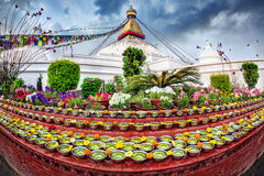 Festival at Bodhnath stupa Stock Photo