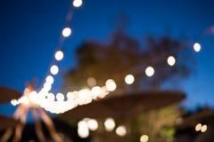 Festival borrado do evento da decoração das luzes exterior imagens de stock