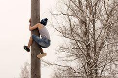 Festival. Boy climbs on a pole Royalty Free Stock Photography