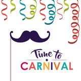 Festival and carnival accesories design. Mustache and streamer  icon. Festival and carnival season theme. Colorful design. Vector illustration Stock Photography
