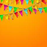 Festival, carnival, celebration orange background. With flags and confetti. Vector illustrations Royalty Free Stock Image