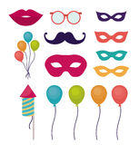 Festival and carnival design. Mouth mustache glasses balloons fireworks and mask icon. Festival and carnival season theme. Colorful design. Vector illustration Royalty Free Stock Photography