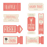 Festival & Carnival Tickets. A set of tickets for a festival or carnival Stock Images