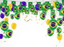 Festival Celebrated Brazilian Colorful Celebration Brazilian Han. G bunting for Brazil celebration template banner. vector Stock Images