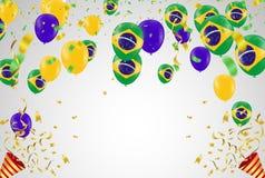 Festival Celebrated Brazilian Colorful Celebration Brazilian Han. G bunting for Brazil celebration template banner. vector Stock Image