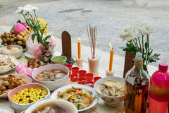 Festival celebration thai-chinese to worship ancestors with vari Royalty Free Stock Photos