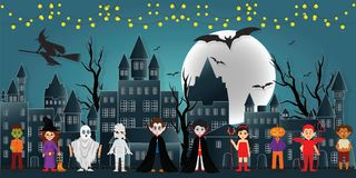The festival characters in the dark night Halloween. The festival characters in the dark night Halloween and full moon in the sky over the abandoned village vector illustration