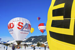 Festival chaud de ballon à air dans Tannheimer Tal, l'Europe Photo stock
