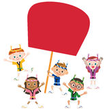 Festival and children. Children enjoying a festival with a big round fan Royalty Free Stock Photos