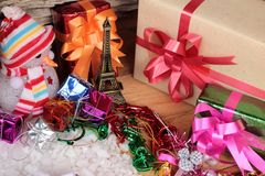 Festival of Christmas gifts and decorations xmas day. Stock Images