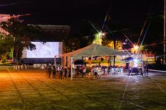 Festival Cine Novo Oeste which brings culture and local producti. Campo Grande, Brazil - April 14, 2018: Open air film festival at Praca do Radio Clube. Event Stock Photos