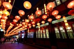 2016 festival cinesi della fiera e di lanterna del tempio del nuovo anno a Chengdu Immagini Stock