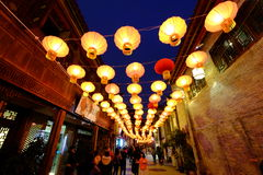 2016 festival cinesi della fiera e di lanterna del tempio del nuovo anno a Chengdu Immagini Stock Libere da Diritti