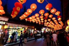 2016 festival cinesi della fiera e di lanterna del tempio del nuovo anno a Chengdu Fotografia Stock Libera da Diritti