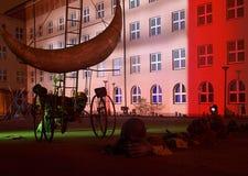 Festival city of Łódź. Illuminated light shows on buildings during the festival of light art in Lodz Stock Image