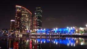 Festival City Nightscape. Nighttime cityscape at Festival City, Dubai, UAE stock image