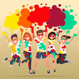 Festival of colors. Holi Celebration. Cheerful group of people t. Hrows multicolored powder. Vector illustration in a flat style Stock Photos
