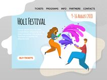 Festival of colors Holi. Happy boy and girl throw paint. Vector illutration, design template of site, header, banner or. Festival of colors Holi. Happy boy and Stock Image