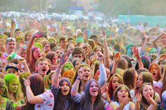 Festival of colors Holi in Tula, Russia Stock Images
