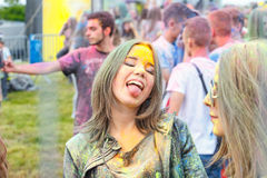 Festival of Colors in Krakow. Unidentified people dancing and celebrating during the color throw, P Stock Images