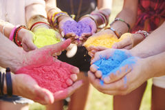 Festival of colors. Music festival with colour powders Royalty Free Stock Photos