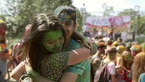 The festival of colors, people throw paints stock video footage