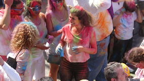 Festival of colours Holy at Barcelona stock video footage