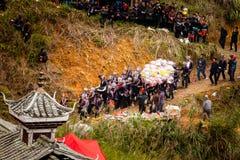 Festival combattente del bufalo d'acqua nella provincia di Guizhou del villaggio di Heko Cina fotografie stock