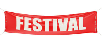 Festival concept on the red banner. 3D Royalty Free Stock Image