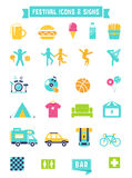 Festival, Concert and Camping Flat Icons. Festival, Concert and Camping Flat Vector Icons and Signs Set Royalty Free Stock Photos