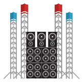 Festival and Concert Speakers plus Light Rigs Royalty Free Stock Photo