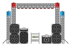 Festival and Concert Stage Equipment. Big modern concert and festival speakers, light rigs and equipment Royalty Free Stock Photos