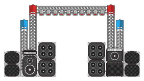 Festival and Concert Stage Equipment. Big modern concert and festival speakers, light rigs and equipment Stock Photography
