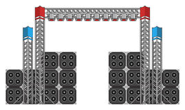 Festival and Concert Stage Equipment. Big modern concert and festival speakers, light rigs and equipment Stock Photo