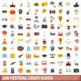 100 festival craft icons set, flat style. 100 festival craft icons set in flat style for any design vector illustration Royalty Free Stock Image