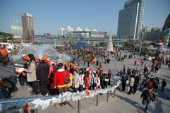 Festival crowd. In The Window of The World before NEW YEAR holiday royalty free stock image