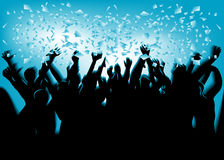 Festival crowd. In blue light. 10 EPS Royalty Free Stock Photo