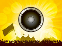 Festival and crowd with speaker. Festival Scene with Crowd and Big Speaker on Summer Background Stock Images