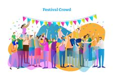 Festival crowd vector illustration. Mass group of fans and spectators dance, clap and view concert, entertainment or celebration. Festival crowd vector vector illustration