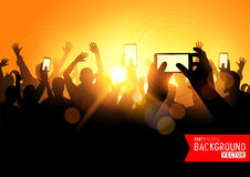 Festival Crowd Vector. People at a concert with smartphones. Vector illustration Stock Photography