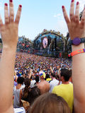 Festival crowd. View of the main stage of the Tomorrowland festival in the town of Boom, Belgium (Friday, 25th of July 2014 Stock Photos