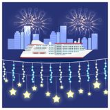 Festival on Cruise Liner Vector Illustration. Festival on cruise liner visualization with large ship on water and fireworks on night sky. Vector illustration of Stock Photos